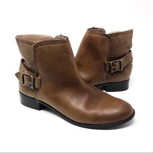 Fossil Brown Leather Zylo Buckle Ankle Booties 7